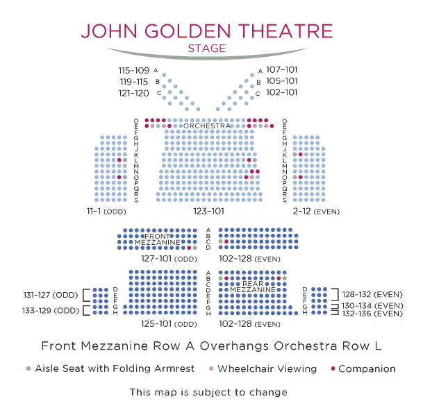 John golden theatre broadway seating charts