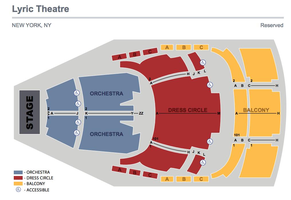 Lyric Theatre (Broadway) Seating Chart