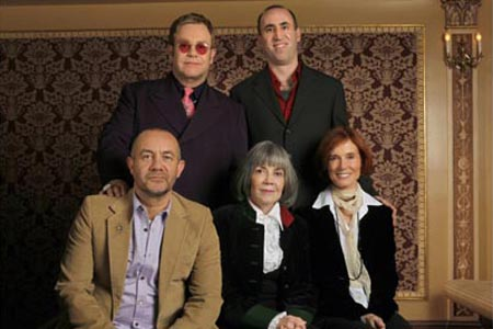 Standing: Elton John and Robert Jess Roth; Seated: Bernie Taupin, Anne Rice and Linda Woolverton