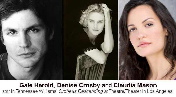 Gale Harold, Denise Crosby, Claudia Mason Star In ORPHEUS DESCENDING, 1/15-2/21
