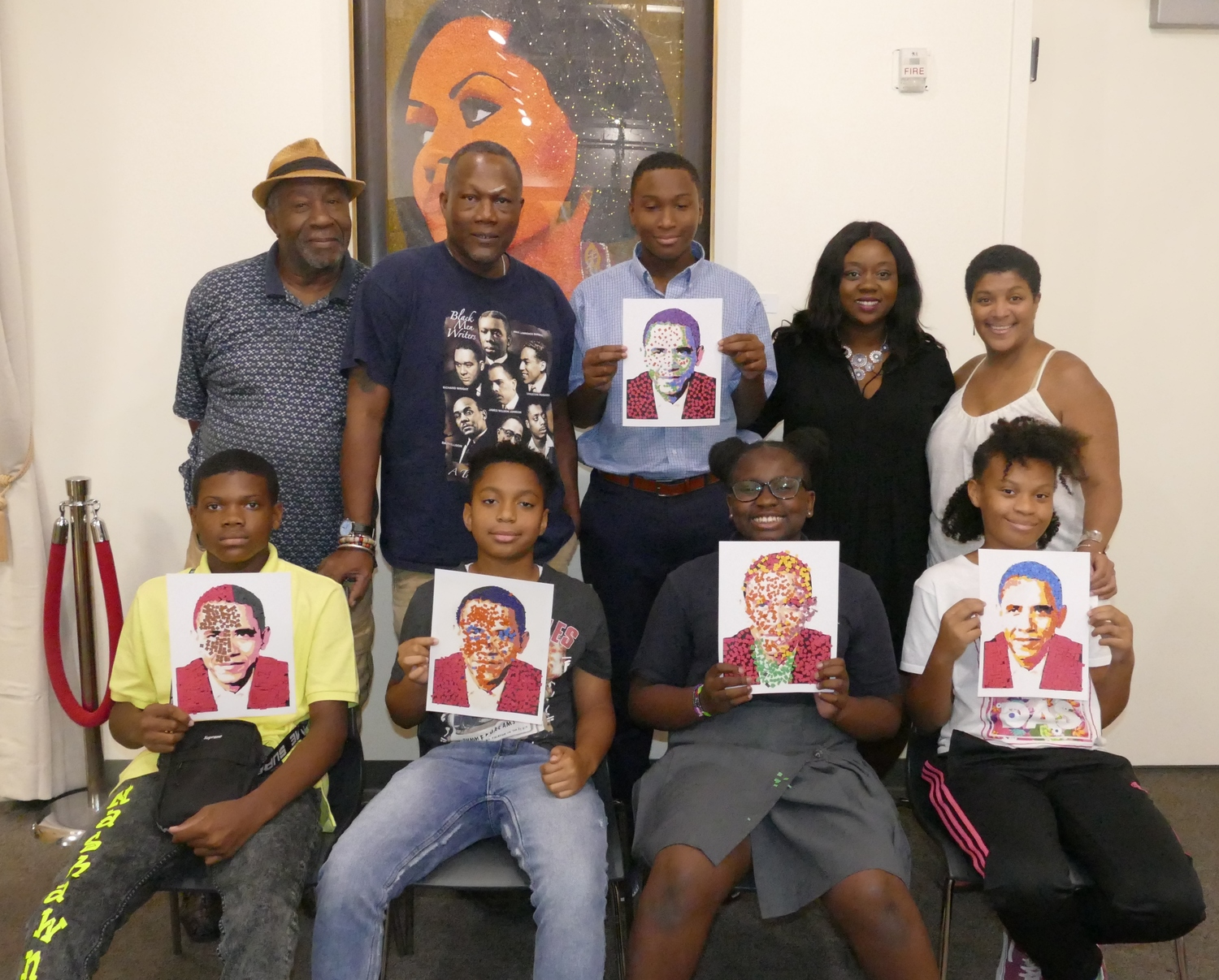 Artist Lennox Commissiong Teaches Harlem Youth To Create Barack Obama Portraits With Pointillism Technique
