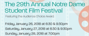 29th Annual ND Student Film Festival to Take Place January 26-28