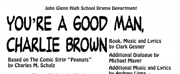 YOU'RE A GOOD MAN, CHARLIE BROWN is in the Round at John Glenn High School