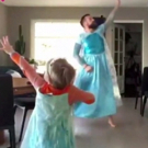 VIDEO: Dad Dances to FROZEN With Son in Matching Elsa Dresses Photo