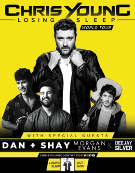 Chris Young Extends 2018 LOSING SLEEP World Tour with Dan & Shay, Morgan Evans, and Dee Jay Silver