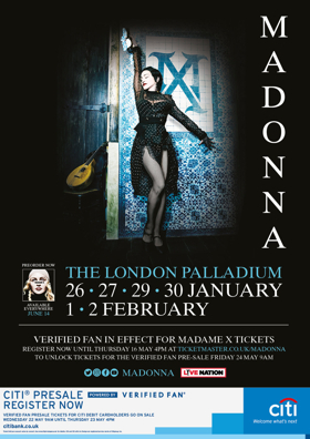 Madonna'sMadame X Tour Announces The London Palladium Dates