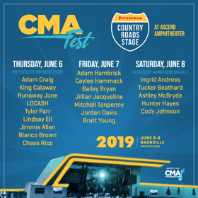 CMA Fest Reveals Lineup For Firestone Country Roads Stage