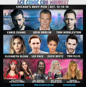 Josh Brolin, Chris Evans, and Tom Hiddleston Headline ACE Comic Con Midwest