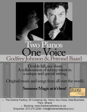 TWO PIANOS, ONE VOICE at The Drama Factory