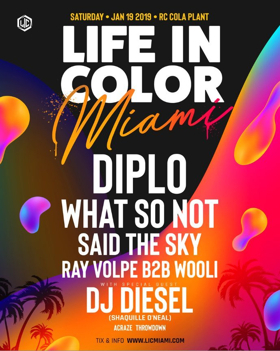 Diplo to Headline LIFE IN COLOR MIAMI 2019