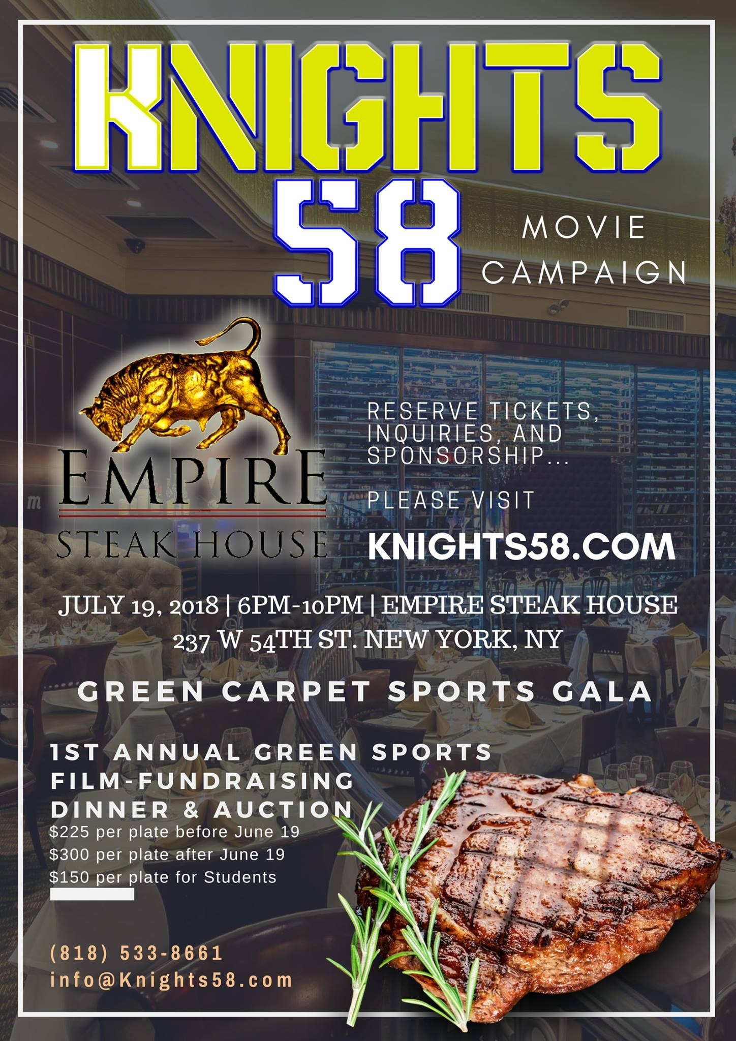 Empire Steak House NY Hosts The 1st Annual 'Green Sports' Film-Fundraiser Dinner and Sports Auction 7/19