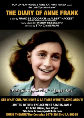THE DIARY OF ANNE FRANK (LATINX) Returns to LA in January