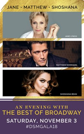 Single Tickets Now On Sale For The 2018 DSM Gala Concert Finale, Featuring Jane Lynch, Matthew Morrison, Shoshana Bean And More