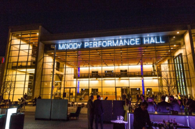 Moody Performance Hall Signage Illuminated In Dallas Arts District