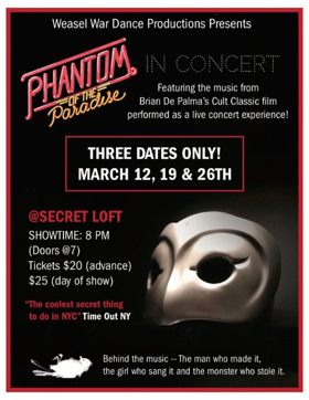 Revised And Reconstructed, Brian De Palma'sPHANTOM OF THE PARADISE Is In Concert At Underground Venue, The Secret Loft