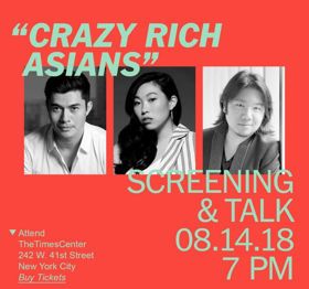 CRAZY RICH ASIANS Stars Constance Wu, Henry Golding, Awkwafina, Michelle Yeoh and Author Kevin Kwan Will Discuss Film at TimesTalk