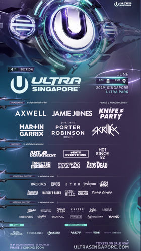 ULTRA Singapore Announces 2019 Phase Two Lineup