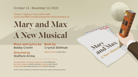 Theatre Calgary to Present the World Premiere of MARY & MAX As Part of 2018-19 Season