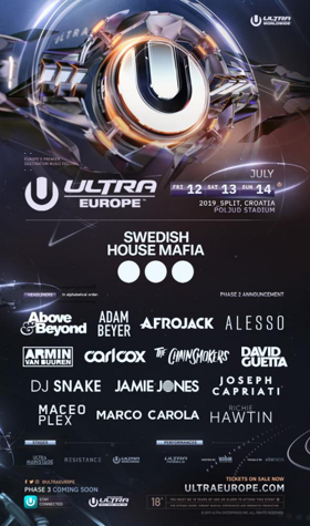 ULTRA Europe Announces Phase Two Lineup, Featuring Afrojack,Alesso,The Chainsmokers