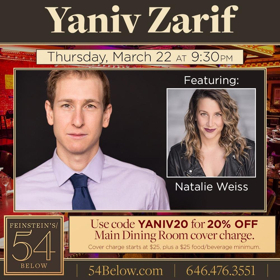 Yaniv Zarif Brings Music in Many Languages to 54 Below in Two Weeks