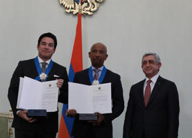 Dean Cain and Montel Williams Receive Presidential Order Of Honor from Armenian President Serzh Sargsyan