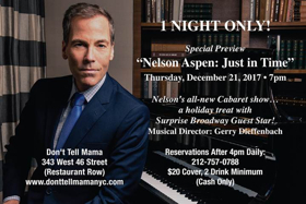 Veteran Entertainer Nelson Aspen to Preview New Cabaret Show JUST IN TIME