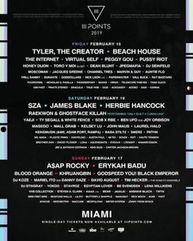 III Points Reveals Daily Lineup with SZA, Tyler, the Creator, Erykah Badu, Herbie Hancock, James Blake, Beach House, A$AP Rocky & More