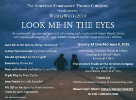 American Renaissance Theater Company Presents WinterWorks 2018: LOOK ME IN THE EYES