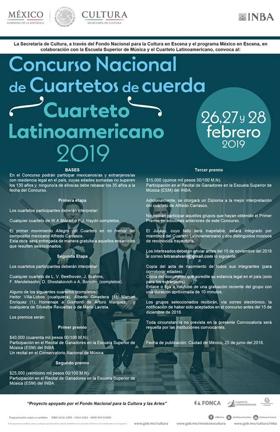 El Concurso Nacional de Cuartetos de Cuerda. Cuarteto Latinoamericano 2019 contará con catorce agrupaciones