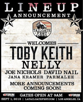 Toby Keith, Nelly, Joe Nichols, David Nail, Jana Kramer, Parmalee Added to LA's TAILGATE FEST LINEUP