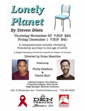 Philip Dawkins and Daniel Kyri to Headline World AIDS Day Reading of LONELY PLANET in Chicago