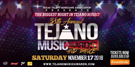 38th Annual Tejano Music Awards & Dance Will Take Place on November 17