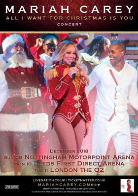 Global Superstar Mariah Carey Announces ALL I WANT FOR CHRISTMAS IS YOU European Tour