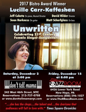 BWW Previews: LUCILLE CARR-KAFFASHAN 'UNWRITTEN' FRIDAY, 12/15/17 at The RRAZZ ROOM New Hope PA
