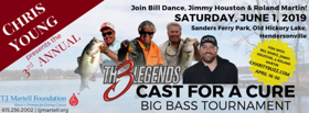 Chris Young Presents the 3rd Annual Th3 Legends Cast for A Cure Big Bass Tournament Set on June 1