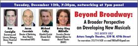 TRU to Host 'BEYOND BROADWAY' December Panel