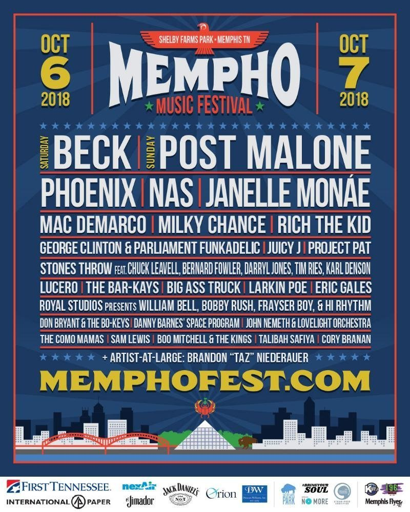 Post Malone Concert: Beck, Post Malone, Phoenix, Nas To Headline 2018 Mempho
