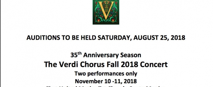 Auditions Announced for Verdi Chorus Fall Concert in Santa Monica
