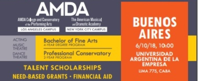 AMDA SCHOLARSHIP AUDITIONS In Buenos Aires, October 6th