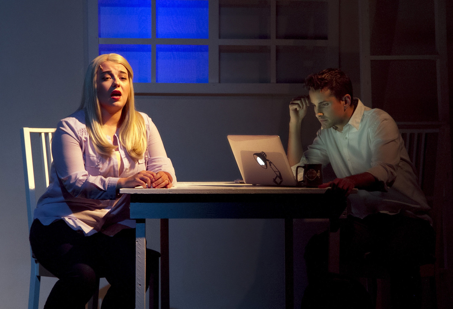 Cathy (Michelle Gendron) and Jaime (Louie Rossetti) share the story of their relationship over the last five years. (Photo: Maria Vartanova)