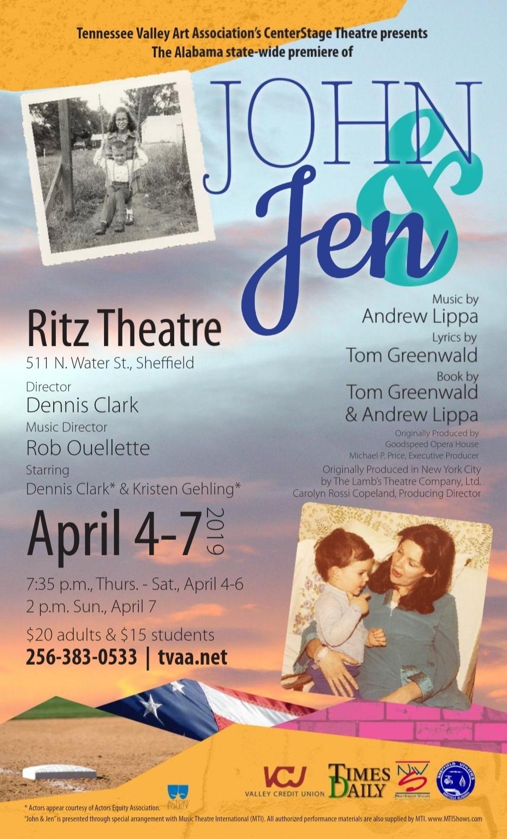 'John and Jen' Musical Opens Ritz Theatre 2019 Season Starring Dennis Clark and Kristen Gehling