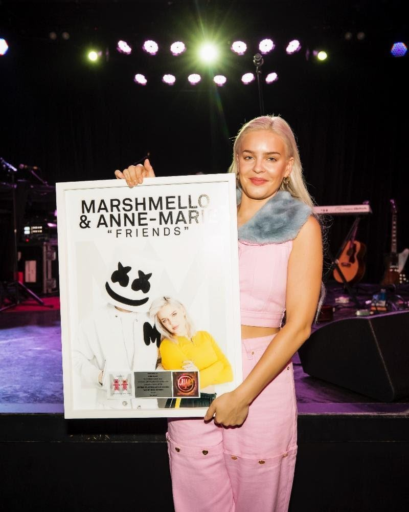 Marshmello and Anne-Marie's FRIENDS Certified Platinum by RIAA
