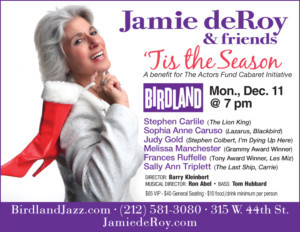 Frances Ruffelle and More Set for Jamie deRoy's 'TIS THE SEASON Actors Fund Benefit at Birdland