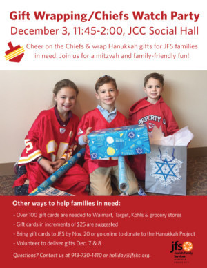 Jewish Family Services Hosts Hannukah Gift Wrap Party For Those In Need