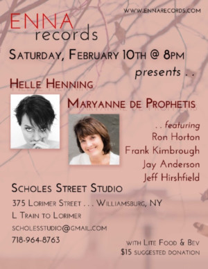 ENNA Records presents Maryanne De Prophetis TRIO & Helle Henning Quartet, 2/10