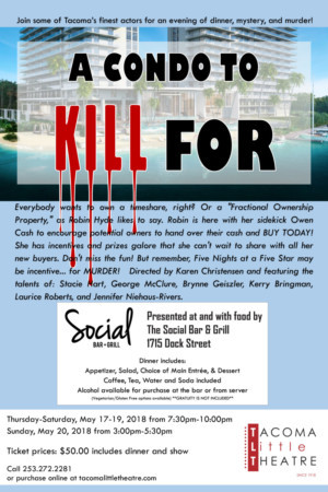 Tacoma Little Theatre Presents-A CONDO TO KILL FOR, A Murder Mystery Dinner