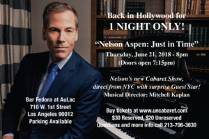 Nelson Aspen Returns to Hollywood With His All New Cabaret Show, 'Just in Time'