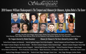 Casting Announced For Michigan Shakespeare Festival's 2018 MainStage Season