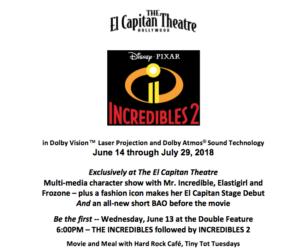 Disney Pixar's INCREDIBLES 2 Comes to El Capitan Theatre - 6/14 - 7/29