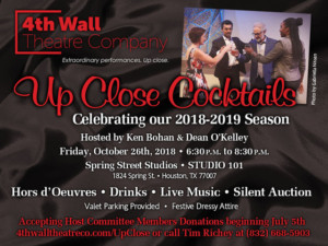 4th Wall Theatre Announce UP CLOSE COCKTAILS Fundraiser 2018